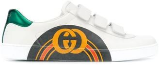 Gucci rainbow striped logo sneakers