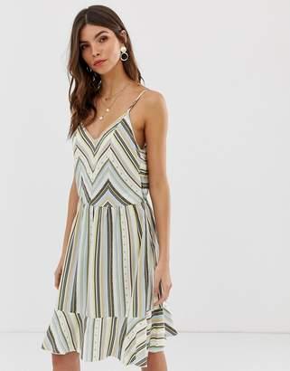 Vila printed stripe open back dress