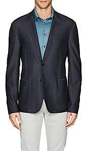 Giorgio Armani Men's Herringbone Mesh-Knit Two-Button Sportcoat-Gray