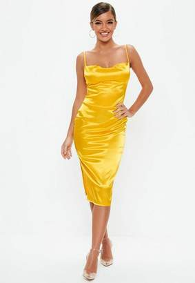 Missguided Mustard Satin Cowl Front Midi Dress