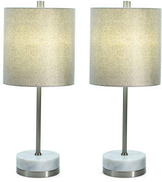 Set Of 2 Steel & Alabaster Table Lamps