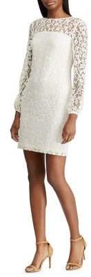 Lauren Ralph Lauren Floral Lace Puff Sleeve Dress