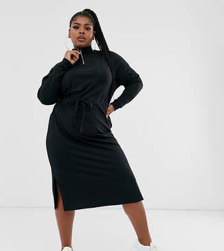 Asos DESIGN Curve midi sweat dress with drawstring waist channel