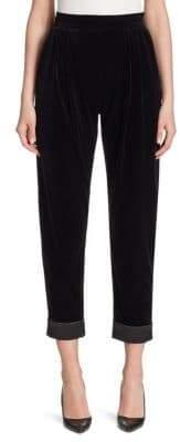 Armani Collezioni Cropped Velvet Pants