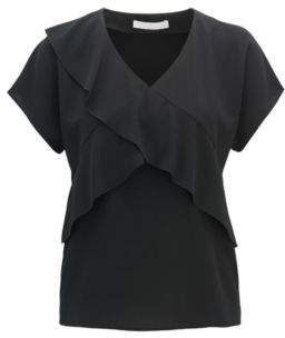 BOSS Hugo V-neck frilled top in crinkled stretch crepe 4 Black