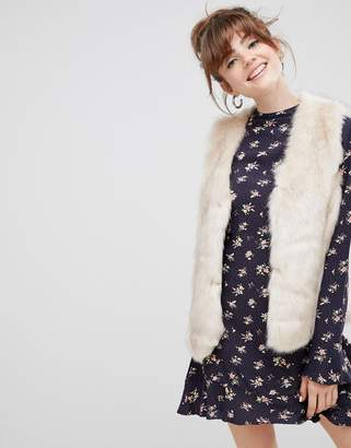 New Look faux fur gilet in cream