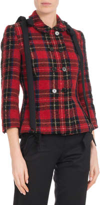 Simone Rocha Double-Breasted Fitted Wool Tartan Jacket w/ Shoulder-Bows