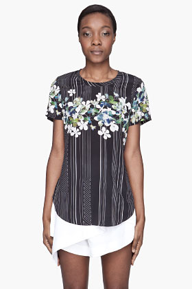 3.1 Phillip Lim Navy floral Overlapping silk t-shirt