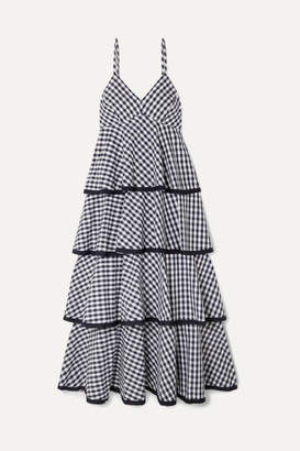 J.Crew Spiro Tiered Gingham Cotton-poplin Midi Dress - Blue