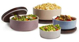 Libbey Urban Story Ceramic Bowls with Lids, Multi-Size, Multi-Color, Set of 4