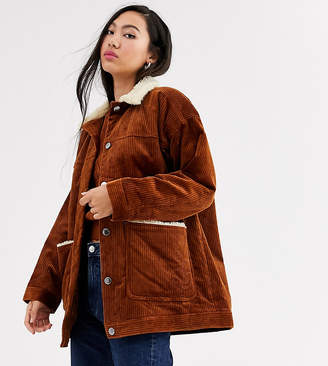 Monki cord jacket with fleece collar in brown