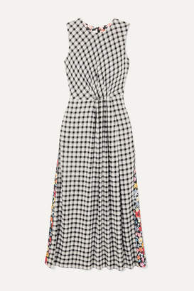 McQ Paneled Checked Flannel And Floral-print Crepe Midi Dress - Black