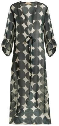 Adriana Degreas - Cacao Polka Dot Print Silk Robe - Womens - Green Multi
