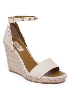 Valentino Rockstud Double Leather Espadrille Wedge Sandals $795 thestylecure.com