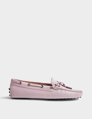 Tod's Heaven Moccasins with Bow in Lilac Textured Calfskin