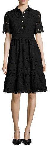 Kate SpadeKate Spade New York Short-Sleeve Cotton Eyelet Shirtdress, Black