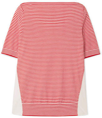 Moncler Twist Striped Cotton And Satin-shell Top - Red