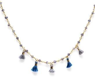 Electric Picks Fringe Blue Set of 3 Tassel Necklaces