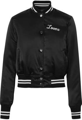 Lovers Crystal-embellished Embroidered Silk-satin Bomber Jacket - Black