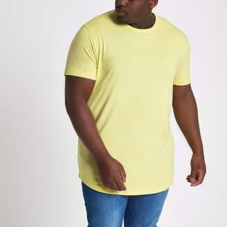 River Island Mens Big and Tall Yellow curved hem T-shirt