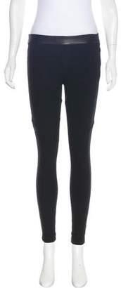 Rag & Bone Leather-Trimmed Cotton Skinny Pants