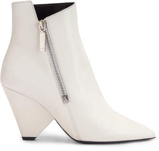 Saint Laurent Niki Zip Booties in White | FWRD