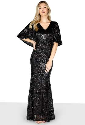 Girls On Film Outlet Black Cape Maxi