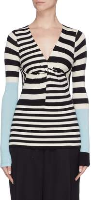 Tome Colourblock sleeve cutout back stripe top