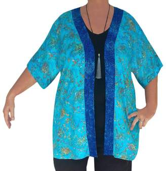 Fashion Fulfillment 2x 3x Cardigan PLUS SIZE Jacket Dolman Sleeve, Teal Blue Batik, One Size 2x 3x