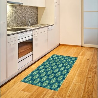 East Urban Home Cool Simplistic Linear Sunflower Tied Bound Crochet Pale Green Area Rug East Urban Home