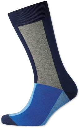 Charles Tyrwhitt Blue Multi Block Socks Size Large