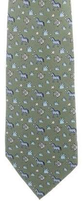 Hermes Zebra & Fish Print Silk Tie