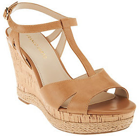As Is Franco Sarto Leather T-strap Wedges - Swerve $28 thestylecure.com