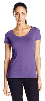 Clementine Apparel Women's Short Sleeve T Shirts Tag Free Scoop Neck Triblend Stretch Undershirt Tees (6730)