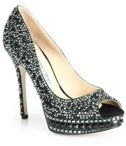 Jimmy Choo Klara Crystal-Covered Peep Toe Pumps