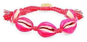 Venessa Arizaga Women's Neon Pink Shell Pull-Tie Bracelet