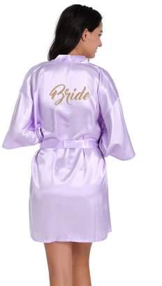 Honeystore Women's Short Kimono Wedding Party Robe with Embroidered Bride M