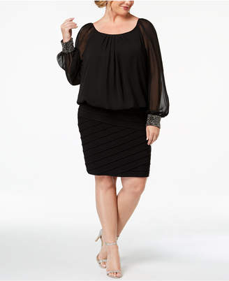 Plus Size Black Blouson Dress Shopstyle