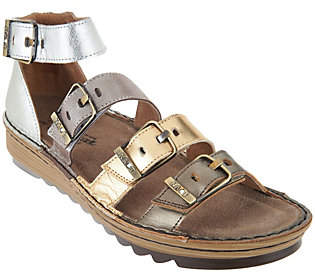 Naot Footwear Leather Sandals with Buckle Details -Begonia