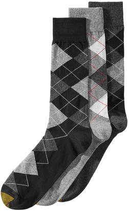 Gold Toe Men's 3-Pk. Extended-Size Carlyle Argyle Socks