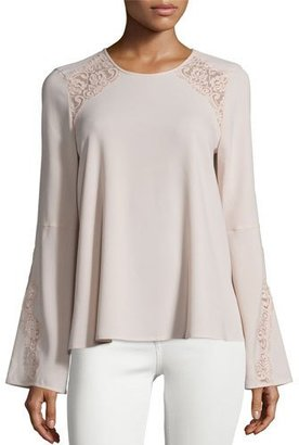 BCBGMAXAZRIA Chrystie Bell-Sleeve Lace-Inset Top $248 thestylecure.com