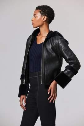 Veda Parker Reversible Shearling Coat Navy/Black