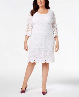 24b66c081357f Alfani Plus Size Crochet-Trim Illusion Dress