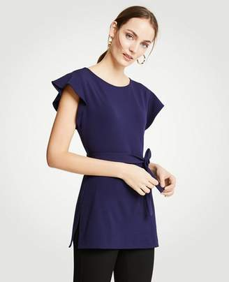 Ann Taylor Belted Flutter Tunic Top