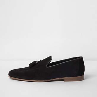 River Island Black suede tassel loafers