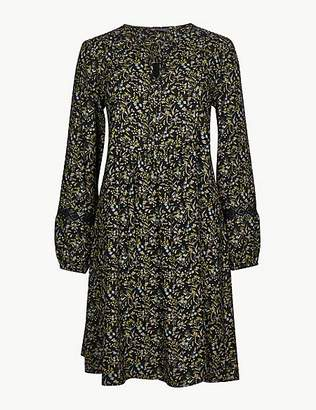 M&S Collection Floral Print Long Sleeve Relaxed Mini Dress