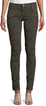 Etienne Marcel Studded Camo-Print Skinny Jeans w/ Zipper Cuffs