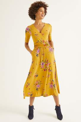 Boden Womens Yellow Carrie Jersey Midi Dress - Yellow