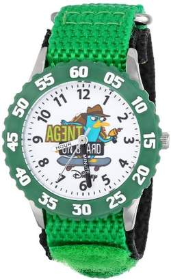 Disney Kids' W000372 Agent P Stainless Steel Time Teacher Green Bezel Green Nylon Strap Watch