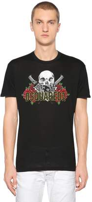 DSQUARED2 Guns & Roses Cotton Jersey T-Shirt